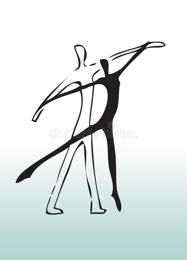 Hand drawn couple dancing royalty free illustration