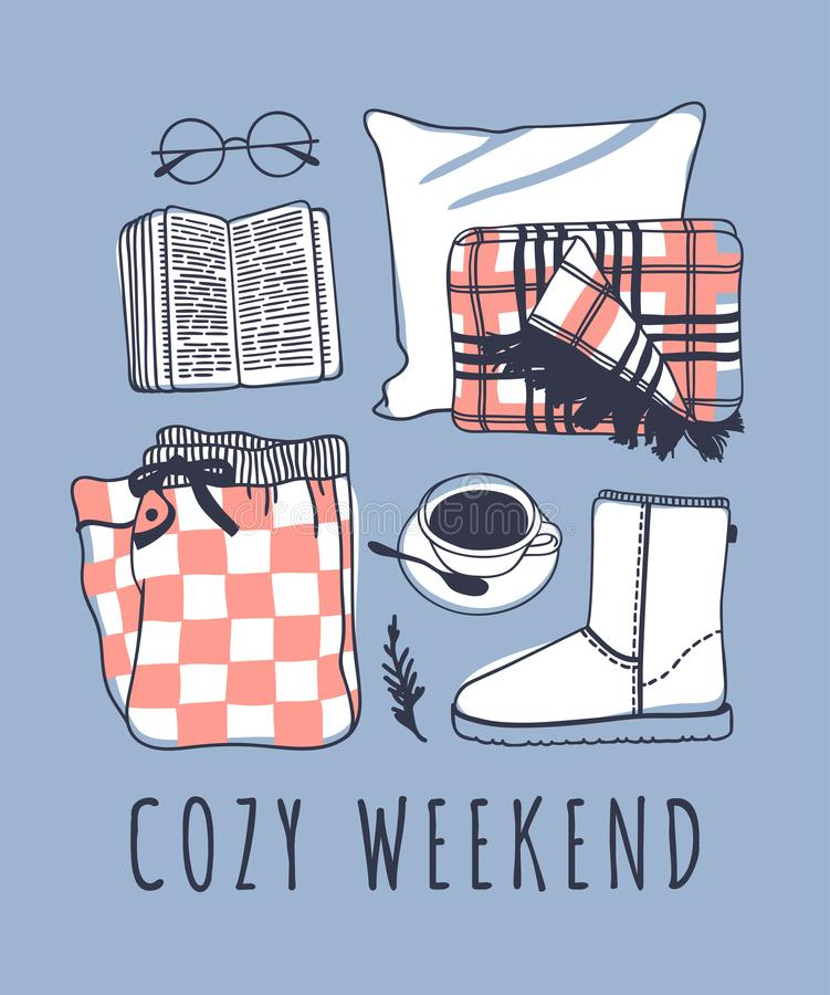 Hand drawn cozy fashion illustration. Creative ink art work. Actual vector drawing. Weekend set, book, glasses, pajamas, plaid, co. Hand drawn cozy fashion stock illustration