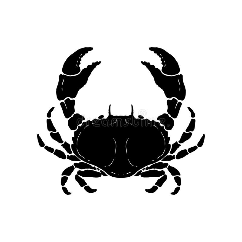 Hand drawn crab illustration. Seafood. Design element for logo, label, emblem, sign, poster. Vector illustration vector illustration
