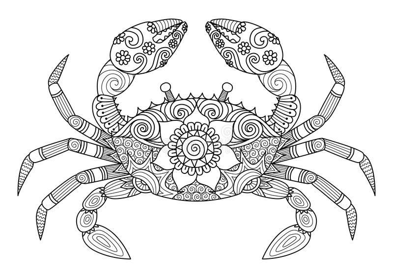 Hand drawn crab zentangle style for coloring book for adult royalty free illustration