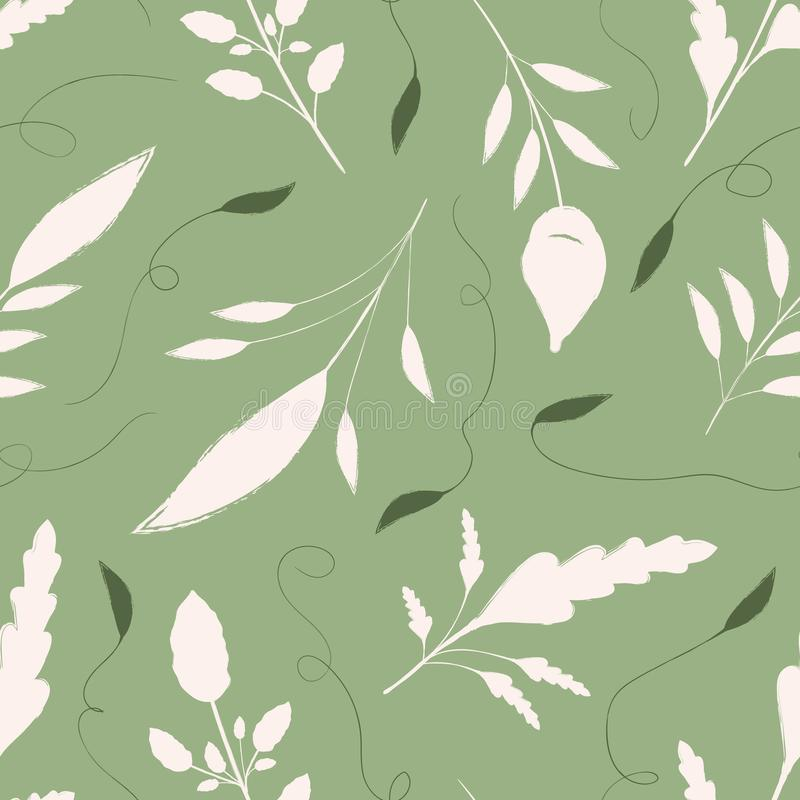 Hand drawn cream and green leaves with ornamental swirls. Seamless vector pattern on warm green background. Great for. Wellbeing, gardening, organic, beauty stock illustration