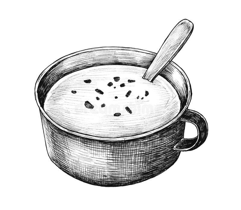 Hand-drawn cream soup style vintage royalty free illustration