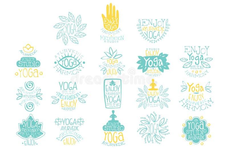 Hand drawn creative design yoga ayurvedic club logo set. Meditation studio. Lettering with illustrations of poses, lotus stock illustration