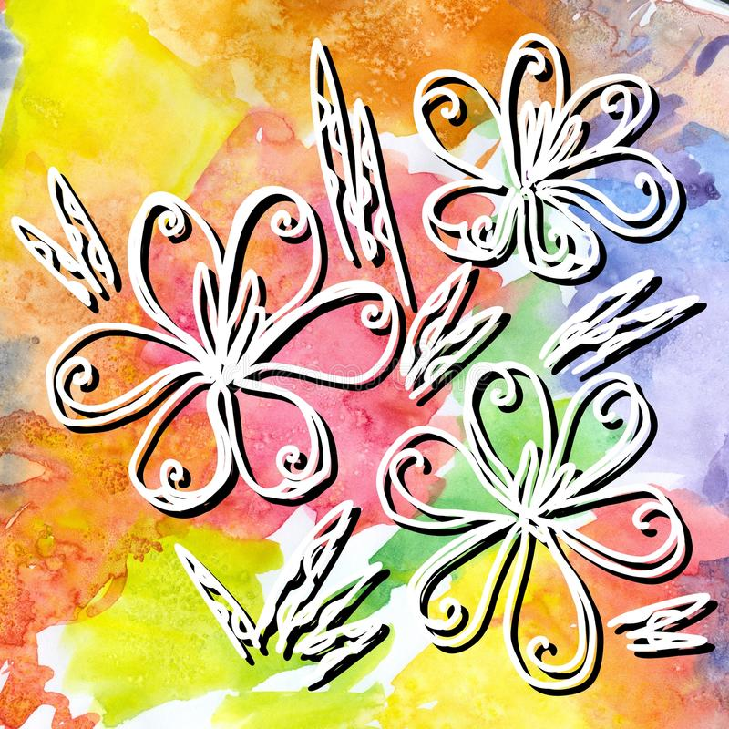 Hand drawn crocus flowers on bright colorful watercolor background. royalty free illustration