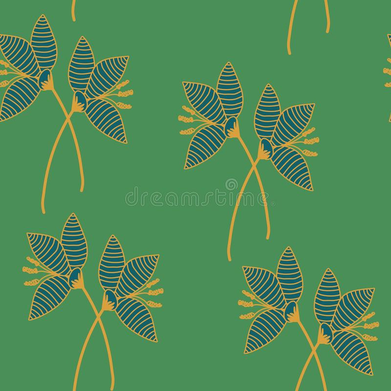 Hand drawn crocus plants and flowers. Hand drawn crocus flowers in lawn, blue, green, gold colors. Silhouettes and line drawings on colored background. Vector vector illustration