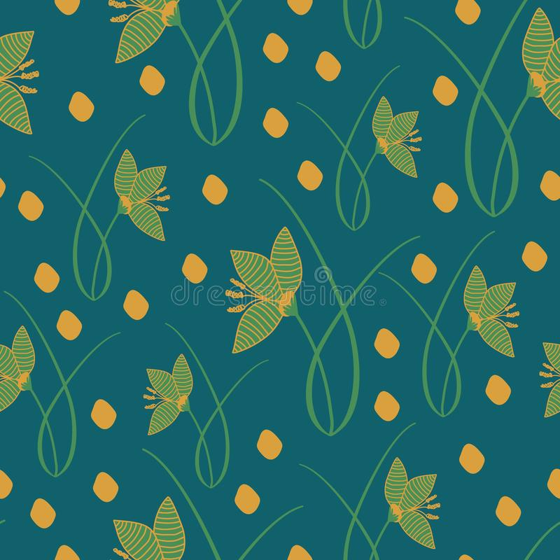 Hand drawn crocus plants and flowers. Hand drawn crocus plants in lawn, blue, green, gold colors. Silhouettes and line drawings on colored background. Vector vector illustration