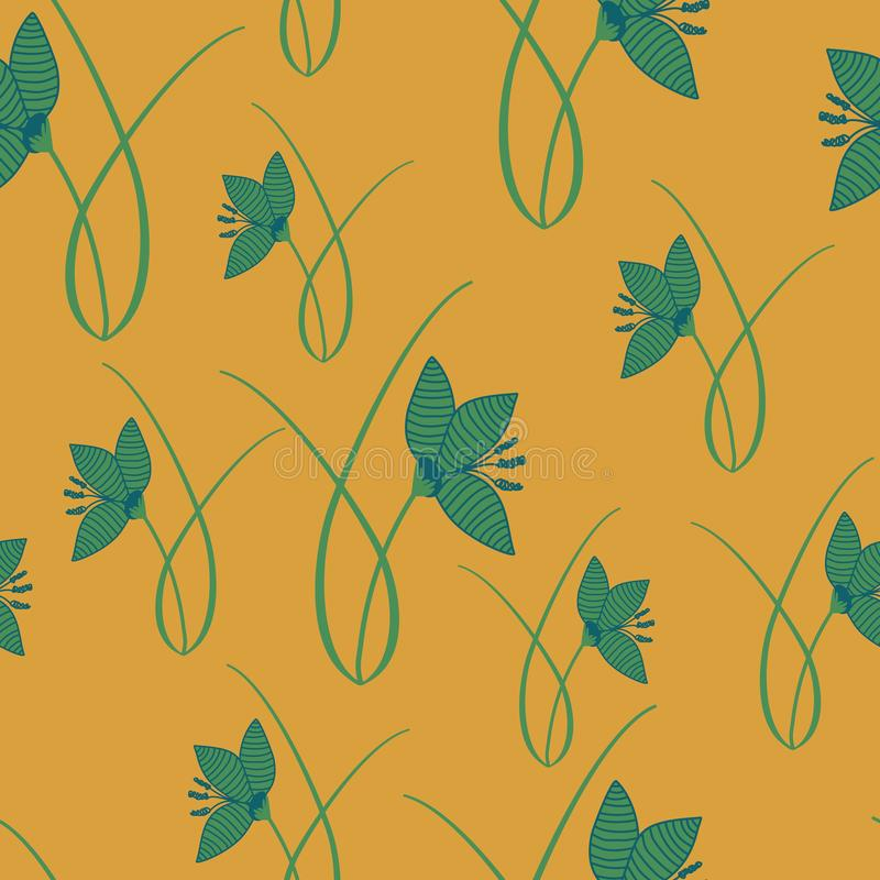 Hand drawn crocus plants and flowers. Hand drawn crocus plants in lawn, blue, green, gold colors. Silhouettes and line drawings on colored background. Vector stock illustration
