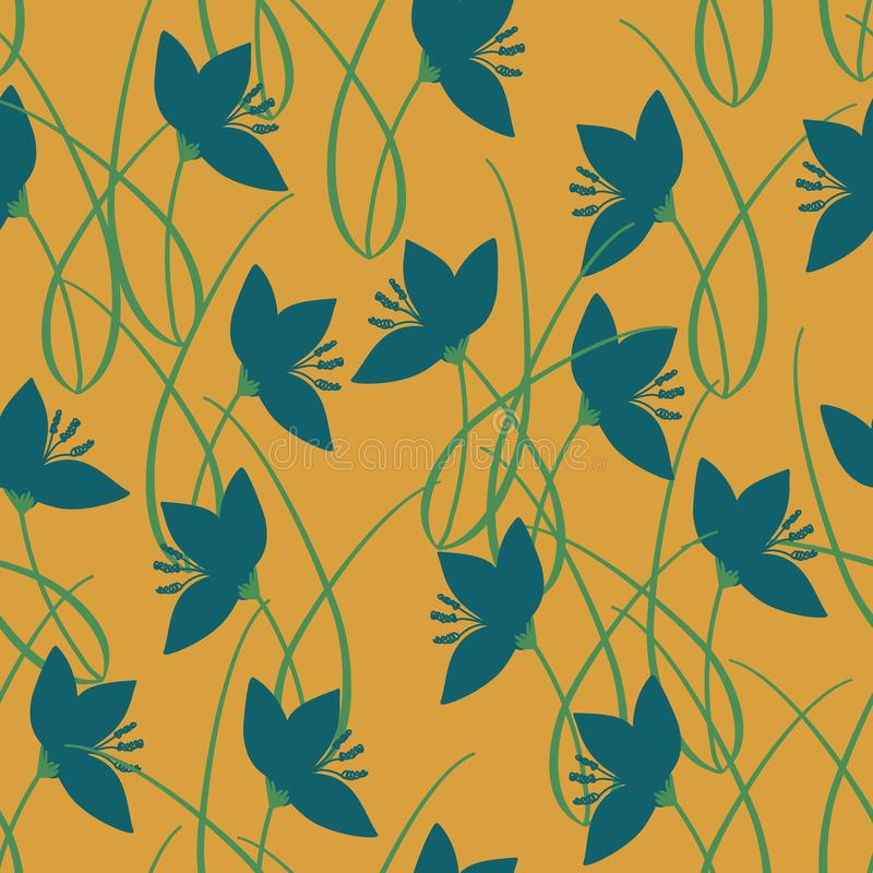 Hand drawn crocus plants and flowers. Hand drawn crocus plants in lawn, blue and green silhouettes on mustard color background. Vector seamless pattern, doodle royalty free illustration