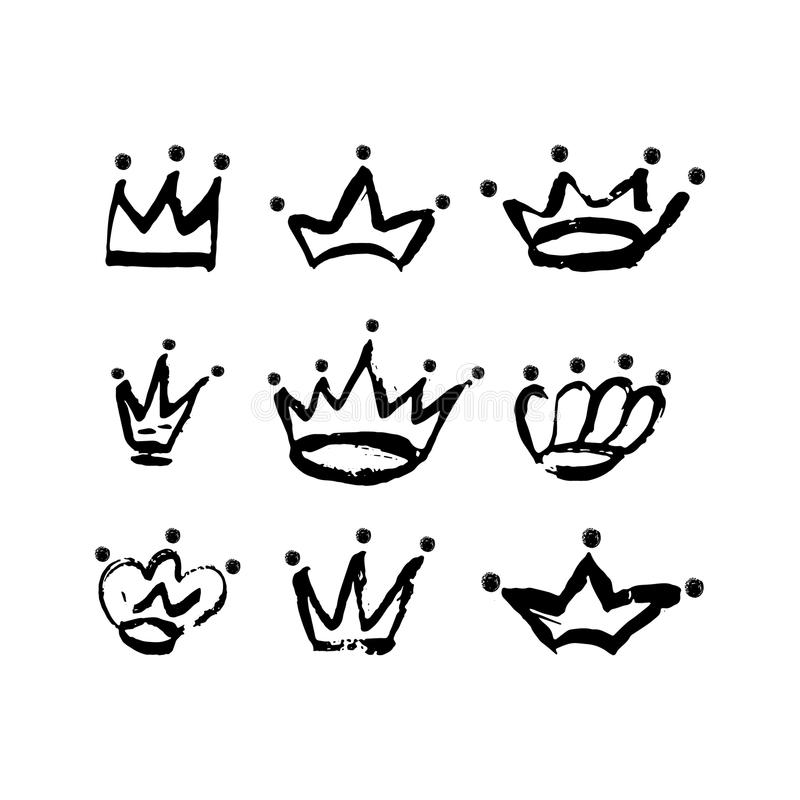 Hand drawn crown icon set in black color. Ink brush crowns background. vector illustration