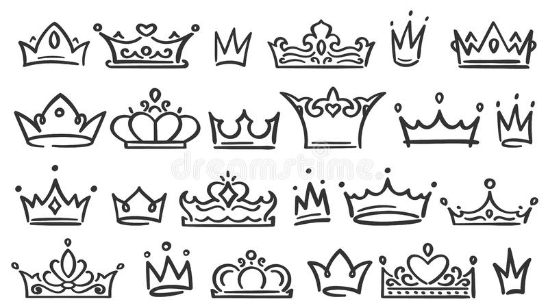 Hand drawn crown. Luxury crowns sketch, queen or king coronation doodle and majestic princess tiara isolated vector. Hand drawn crown. Luxury crowns sketch royalty free illustration