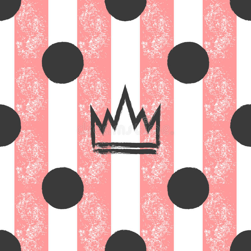 Hand-drawn crown and polka dots on a striped background. Grunge, graffiti, sketch, ink, paint. Seamless pattern for girls. royalty free illustration
