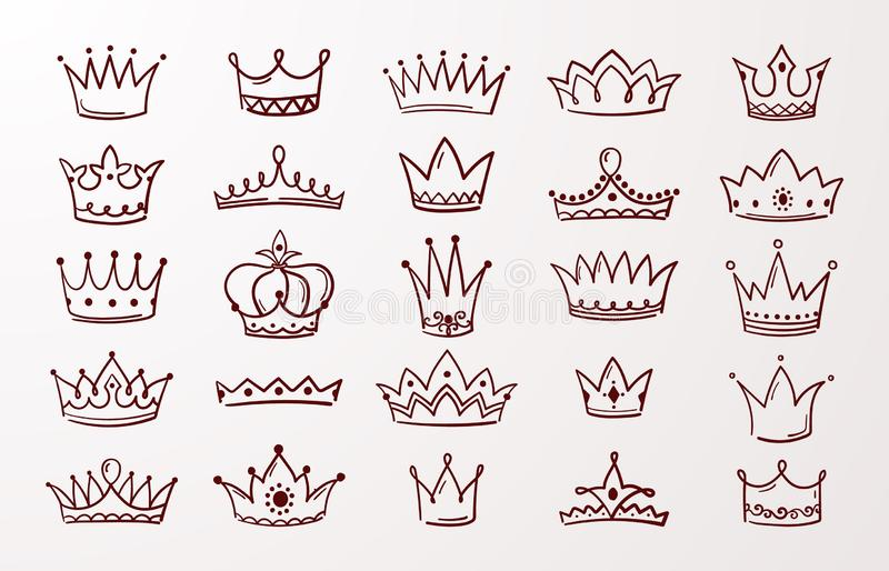 Hand drawn crown set. Sketch queen or king beauty doodle crowns. Vector vintage ink Jewel tiara isolated icons stock illustration