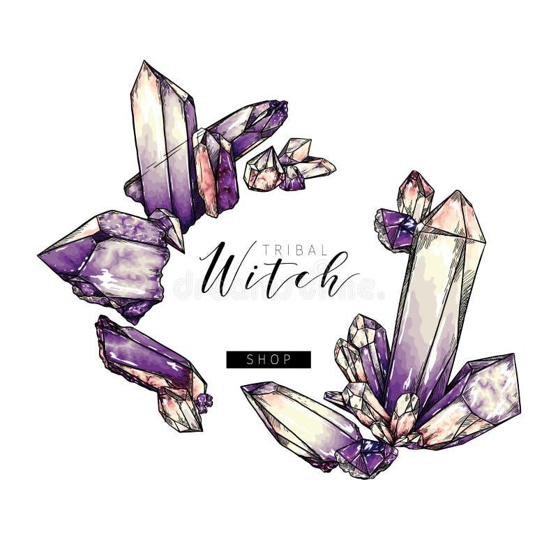 Hand drawn crystal cluster. Vector composition. Mineral illustration. Amethyst or quartz stone. Natural gem. Geology set. Use for decoration, halloween poster vector illustration
