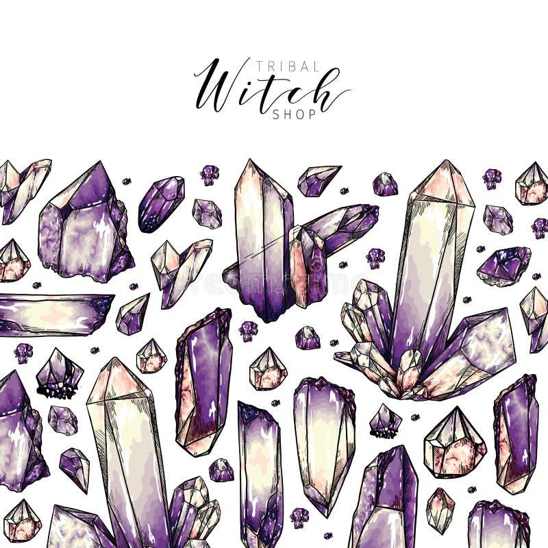 Hand drawn crystal cluster. Vector composition. Mineral illustration. Amethyst or quartz stone. Natural gem. Geology set. Use for decoration, halloween poster royalty free illustration