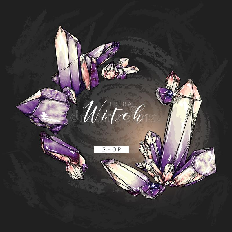Hand drawn crystal cluster. Vector composition. Mineral illustration. Amethyst or quartz stone. Natural gem. Geology set. Use for decoration, halloween poster stock illustration