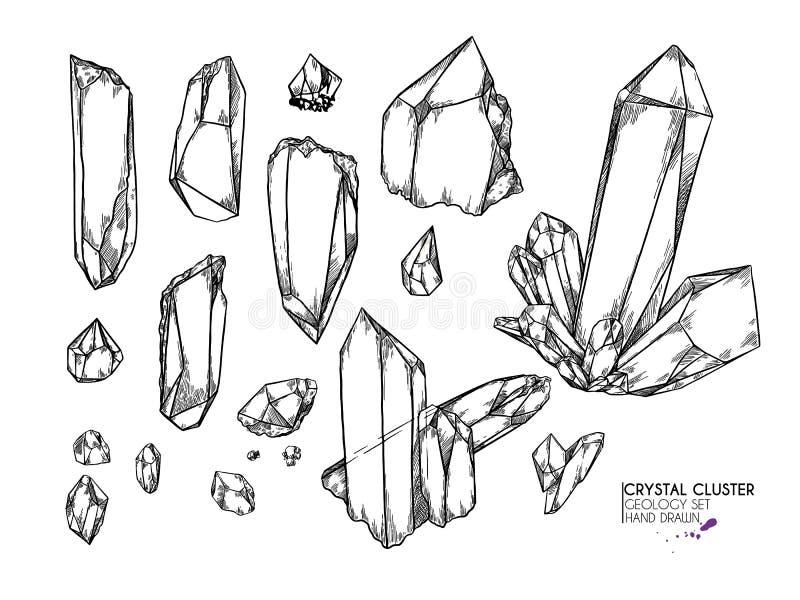 Hand drawn crystal cluster. Vector mineral illustration. Amethyst or quartz stone. Isolated natural gem. Geology set. Use for decoration, flyer, banner royalty free illustration