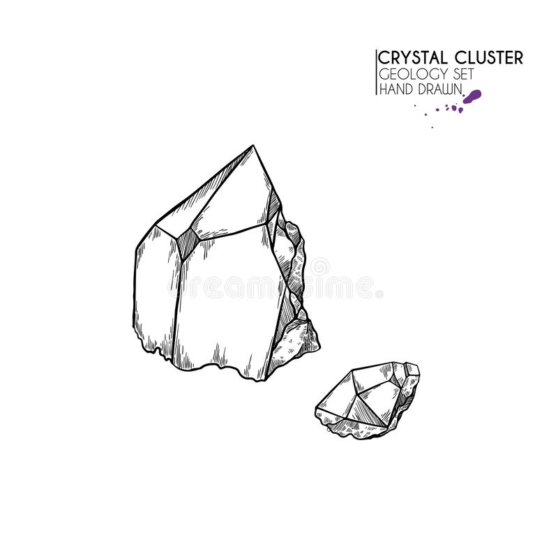 Hand drawn crystal cluster. Vector mineral illustration. Amethyst or quartz stone. Isolated natural gem. Geology set. Use for decoration, flyer, banner stock illustration