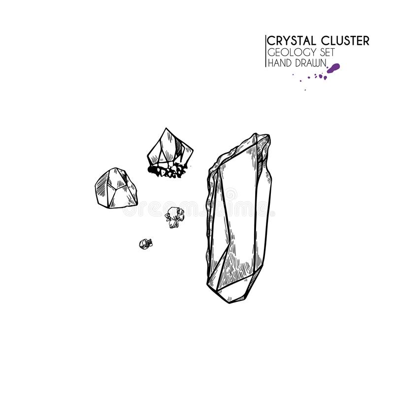 Hand drawn crystal cluster. Vector mineral illustration. Amethyst or quartz stone. Isolated natural gem. Geology set. Use for decoration, flyer, banner vector illustration