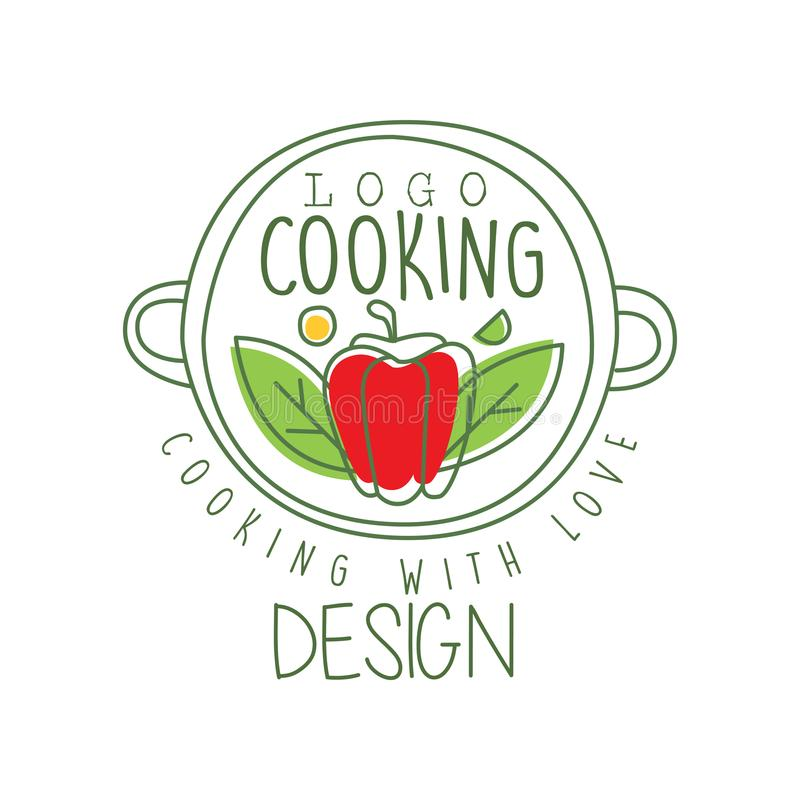 Hand drawn culinary logo design with pepper in a pan and cooking with love lettering. Creative line label for cafe, food vector illustration