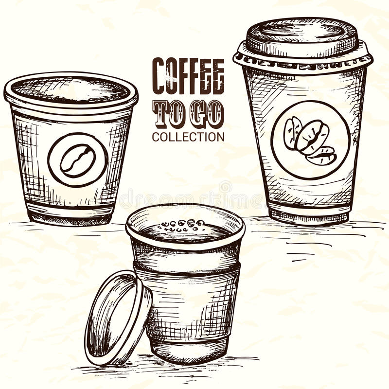 Hand drawn cup of coffee to go stock illustration