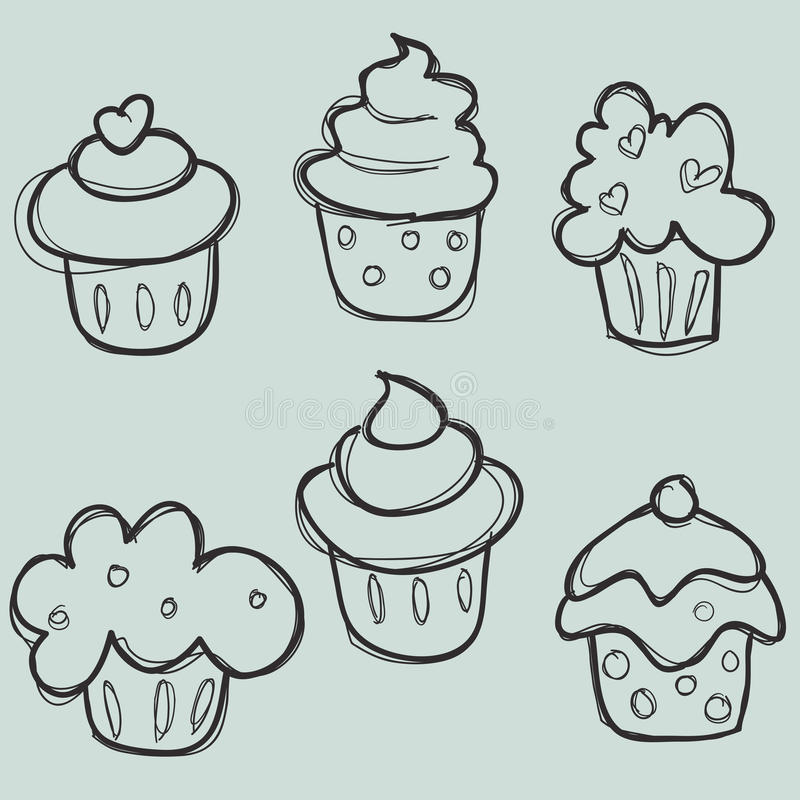 Download Hand drawn cupcake set stock vector. Image of hand, love - 18541641