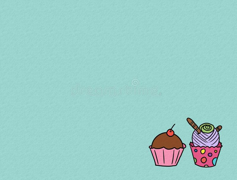Hand drawn cupcakes on color background, sweet bakery used for desktop wallpaper or website design.-image vector illustration