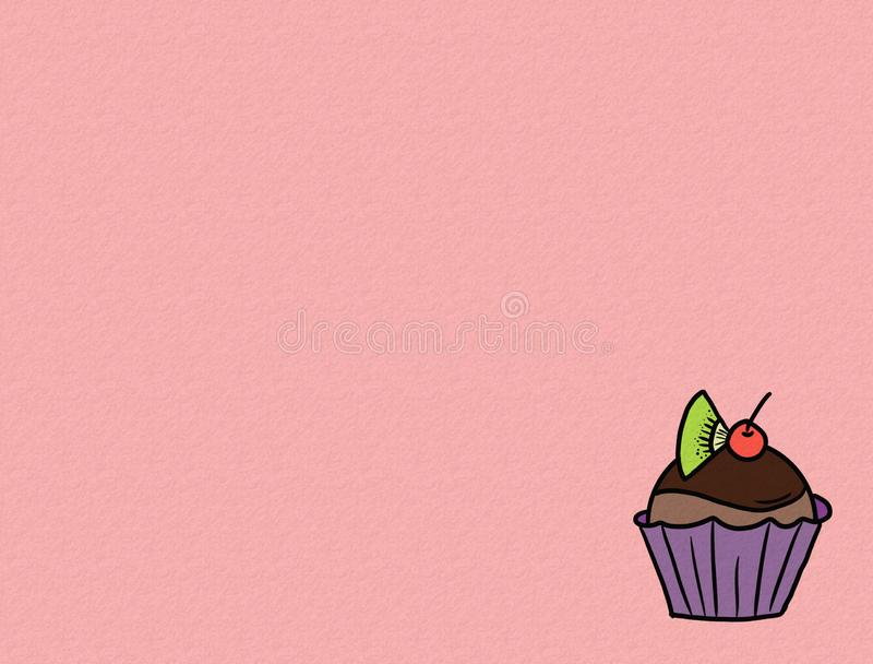 Hand drawn cupcakes on color background, sweet bakery used for desktop wallpaper or website design.-image royalty free illustration