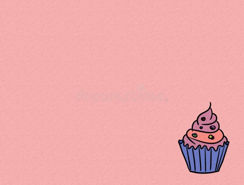 Hand drawn cupcakes on color background, sweet bakery used for desktop wallpaper or website design.-image stock illustration