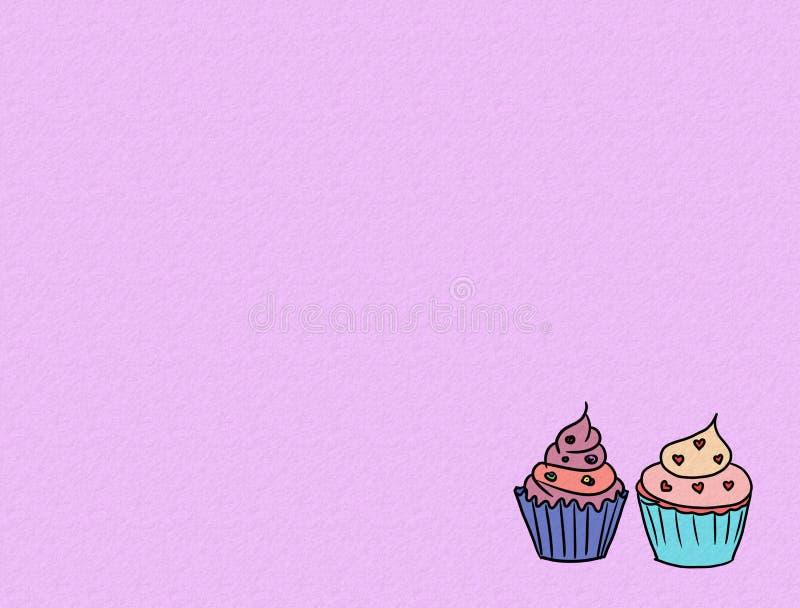 Hand drawn cupcakes on color background, sweet bakery used for desktop wallpaper or website design.-image. Illustration, cream, food, set, cute, dessert vector illustration