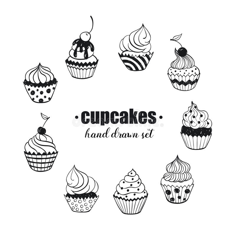 Hand drawn cupcakes. Doodle cupcakes collection. Hand drawn food icons isolated on white background. Sweets doodle set. Handdrawn elements for cafe and royalty free illustration