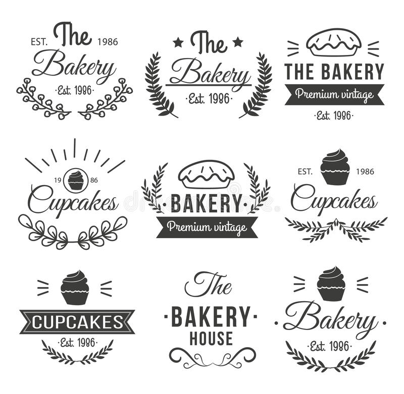 Hand Drawn Cupcakes Label Set. Black hand drawn cupcakes label set with the bakery premium vintage cupcakes and different descriptions vector illustration royalty free illustration