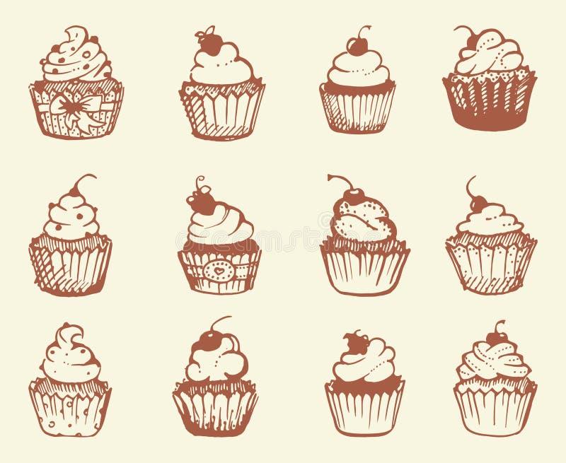 Hand drawn cupcakes. Vector illustration stock illustration