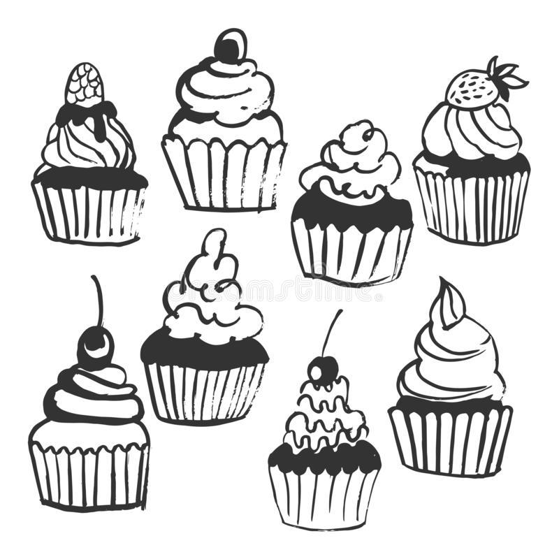 Hand drawn cupcakes. Vector sketch illustration royalty free illustration