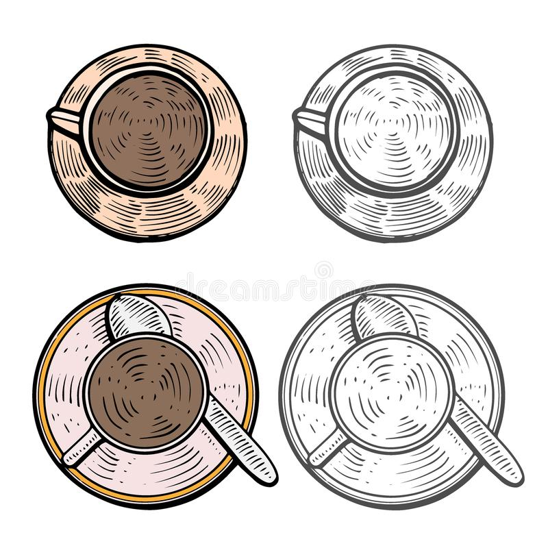Cups with hot coffee royalty free illustration