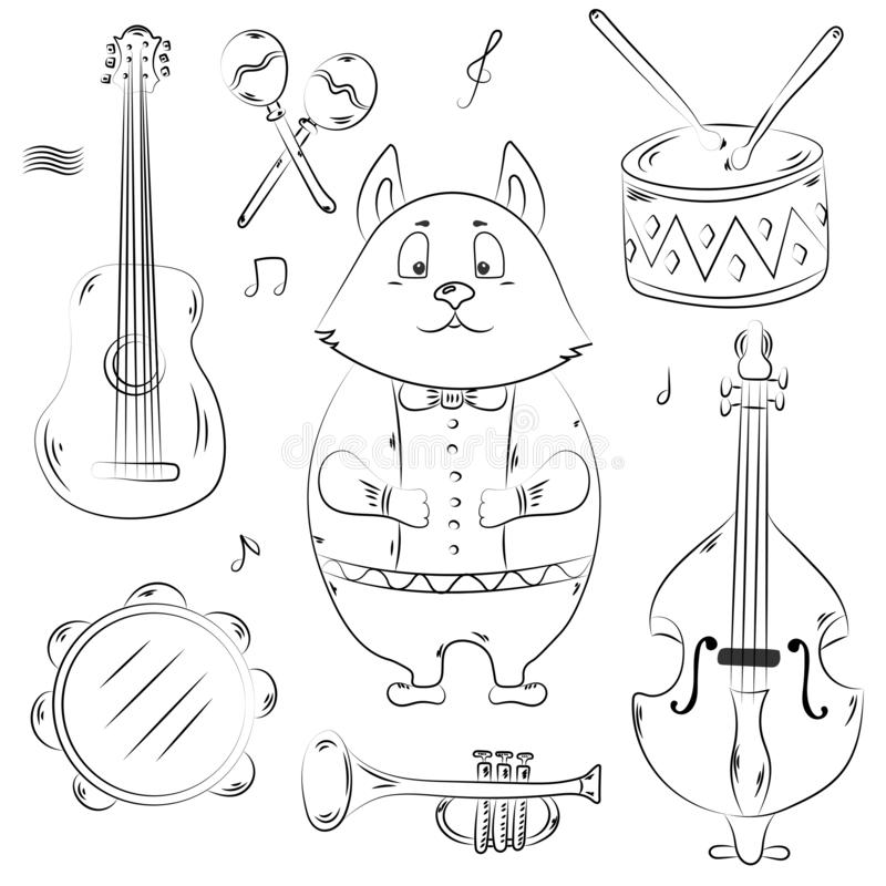 Hand drawn cute animal isolated on white background. Cat and musical instruments. royalty free illustration