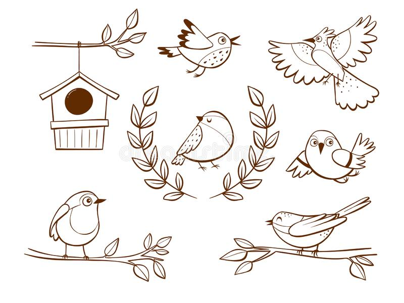 Hand drawn little birds and elements stock illustration