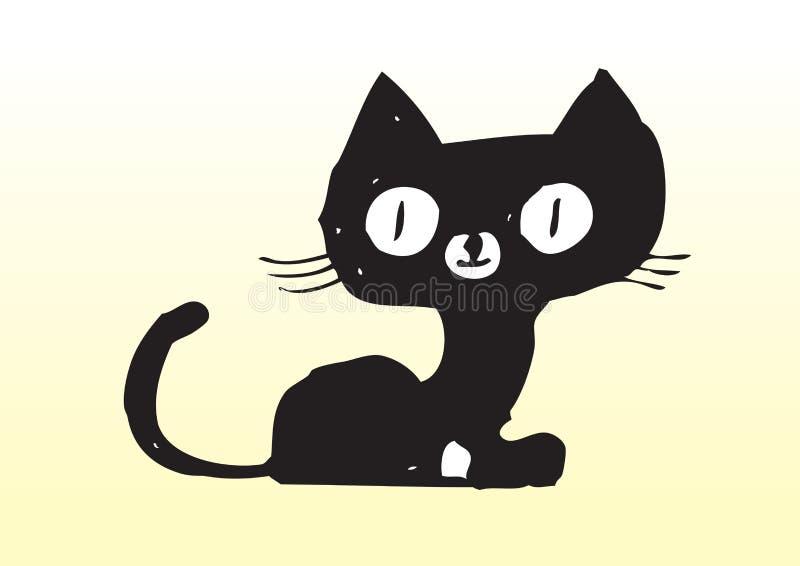 Hand drawn cute black cat stock illustration
