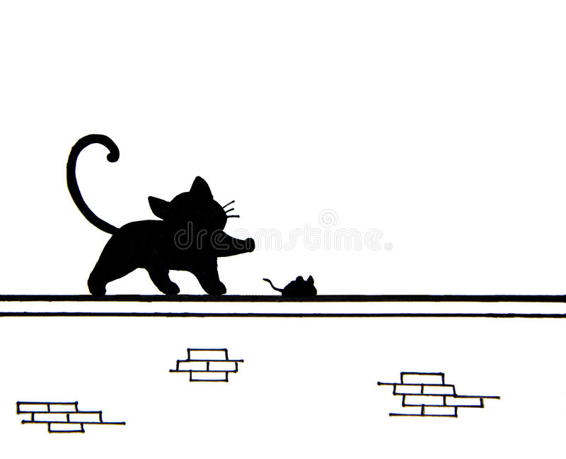 Hand drawn of cute black cat and a mouse on wall - place for text royalty free illustration