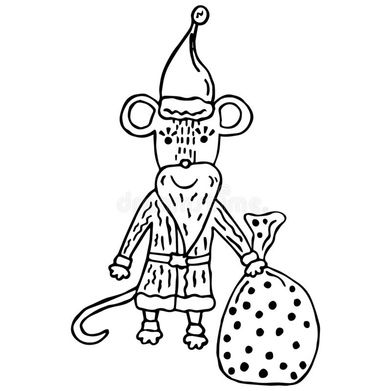 Hand-drawn cute black and white rat Santa Claus with a bag of gifts on a white background. Christmas and New Year`s object for chi royalty free illustration