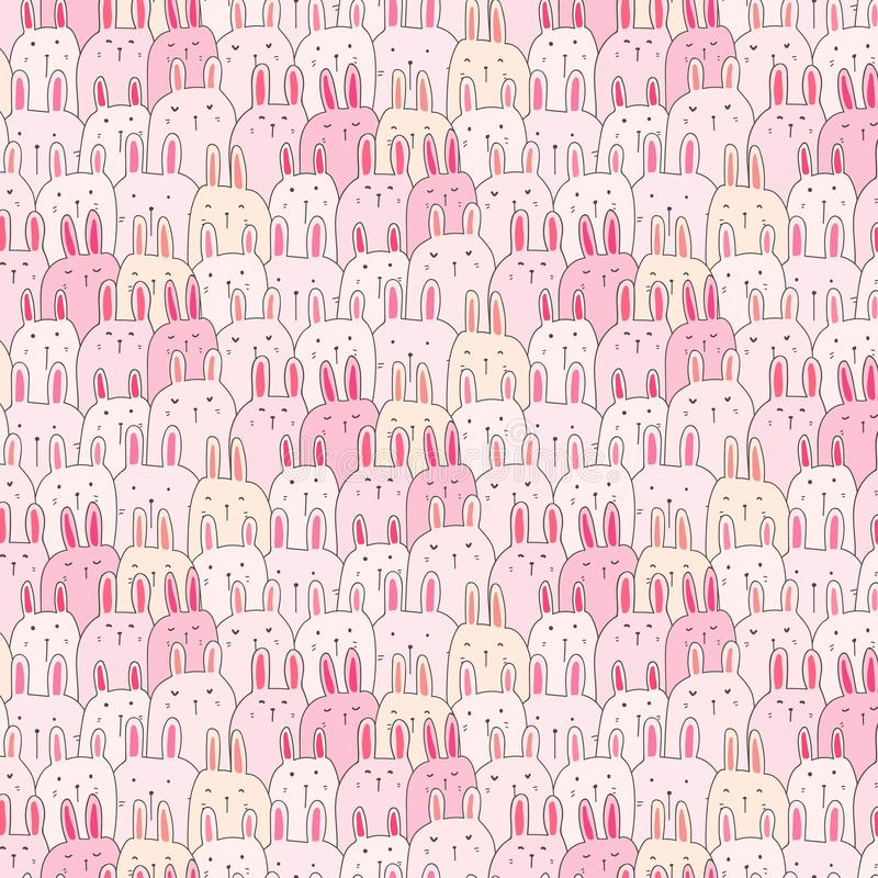 Hand Drawn Cute Bunny Vector Pattern Background. Doodle Funny. royalty free illustration
