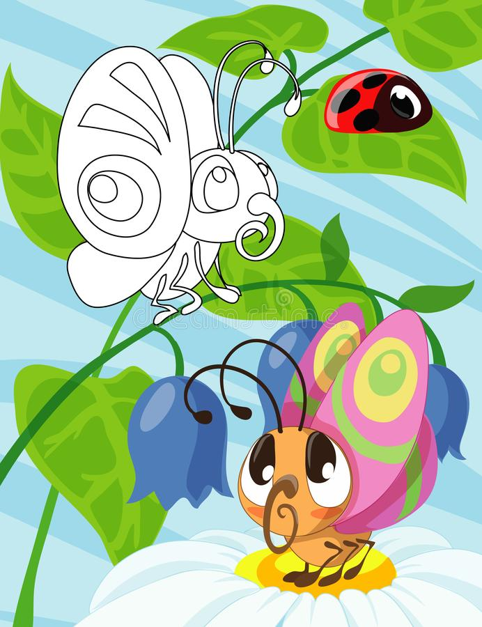 Hand drawn cute butterfly baby cartoon style inspired. Coloring book for kids and adults. vector illustration