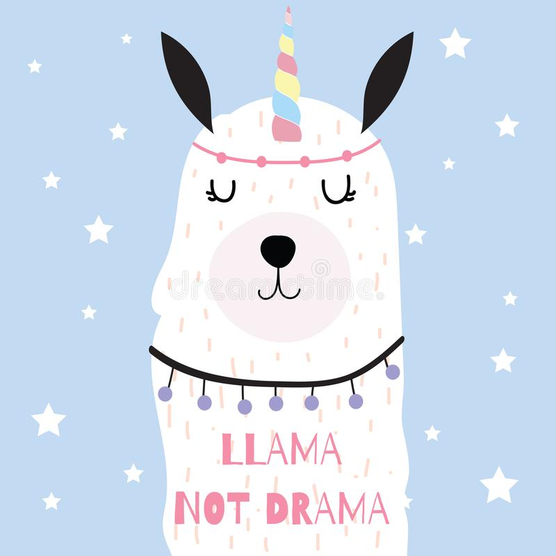 Hand drawn cute card with horn, llama not drama. On blue background vector illustration