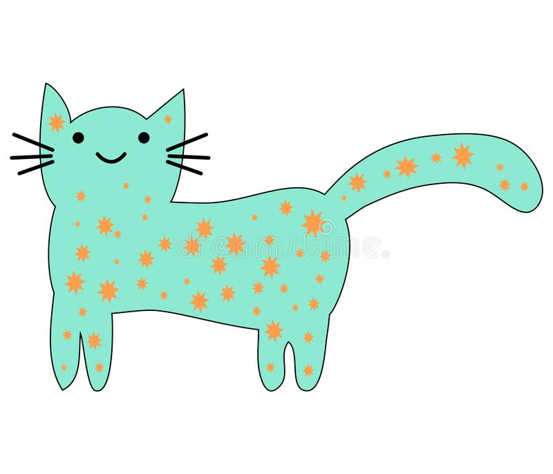 Hand Drawn Cute cat with phrase lovely cute weow vector illustration. Childrens design poster vector illustration