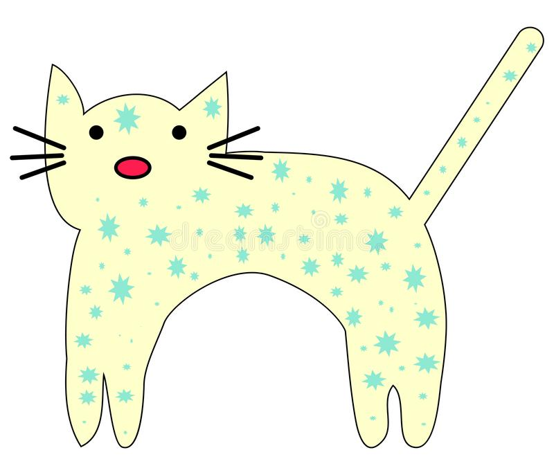 Hand Drawn Cute cat with phrase lovely cute weow vector illustration. Childrens design poster royalty free illustration