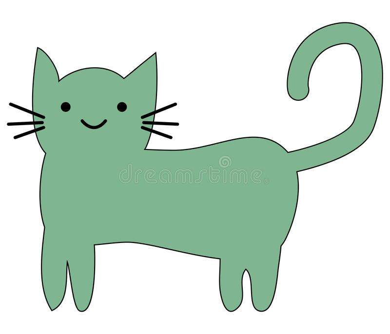 Hand Drawn Cute cat with phrase lovely cute weow vector illustration. Childrens design poster stock illustration