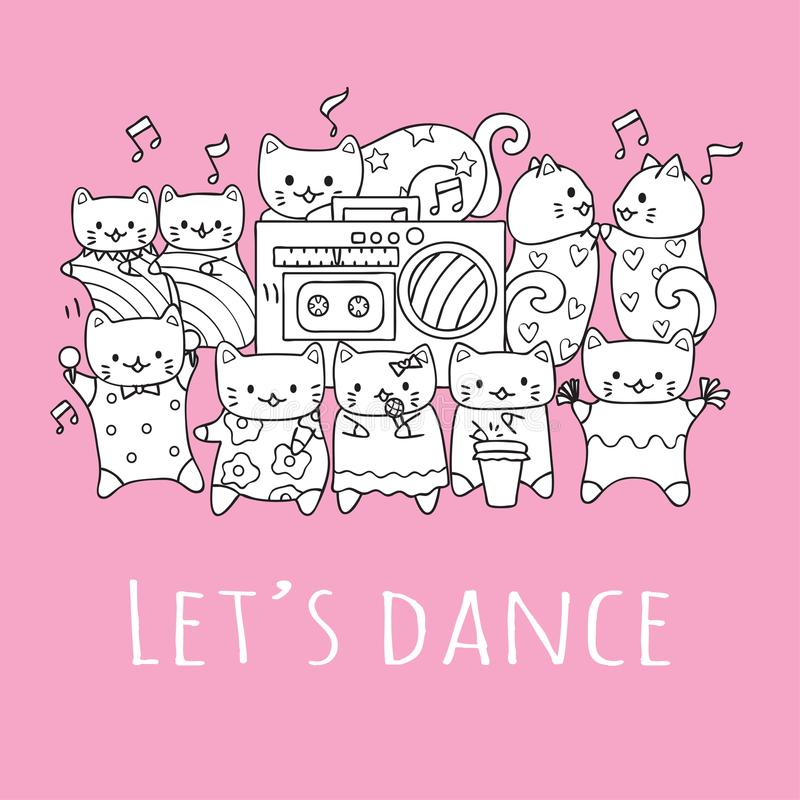 Hand drawn cute cats with friends dancing and playing music in the party with the slogan LET US DANCE for printed tee. Vector illu vector illustration