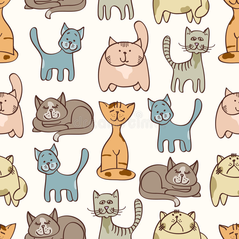 Hand drawn cute cats seamless pattern - pets seamless background vector illustration