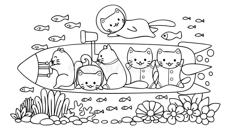 Hand drawn cute cats surveying under water world in submarine, for design element and coloring book page for kids.Vector illustrat. Ion stock illustration