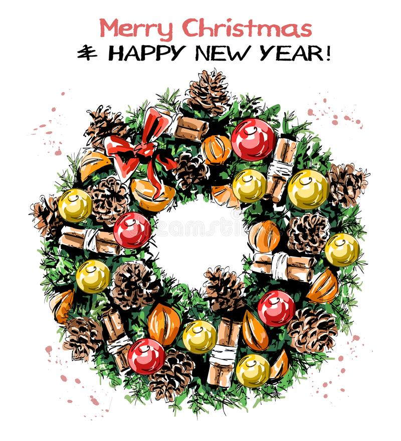 Free Hand Drawn Cute Christmas Wreath With Ribbons, Balls, Pine Cones, Mandarines, Cinnamon Stick And Bow. Beautiful Nobilis-fir Wreath Royalty Free Stock Photography - 133952037