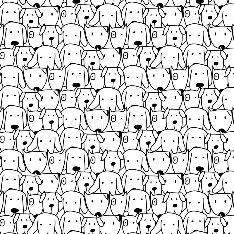 Hand Drawn Cute Dog Vector Pattern. Doodle Art. stock illustration
